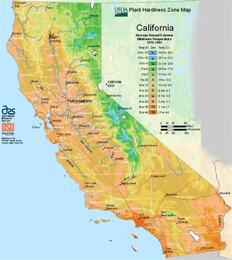 gardening hardiness zones usda map of planting zones for california