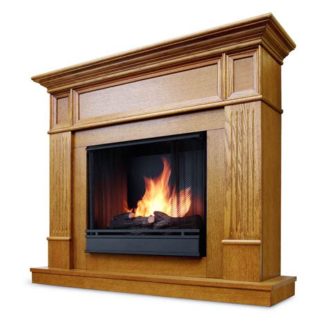 Ventless Fireplace by Real Camden Ventless Gel Fireplace In Light Oak