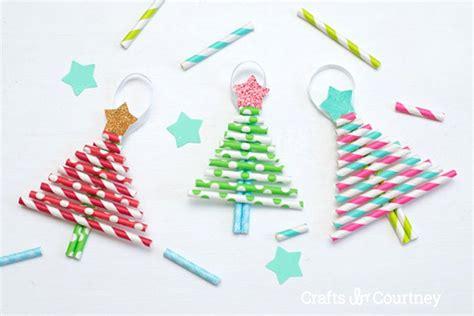 Paper Straw Crafts - paper straw tree ornaments