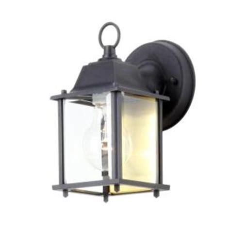 outdoor porch lights home depot hton bay 1 light black outdoor wall lantern bpm1691 blk