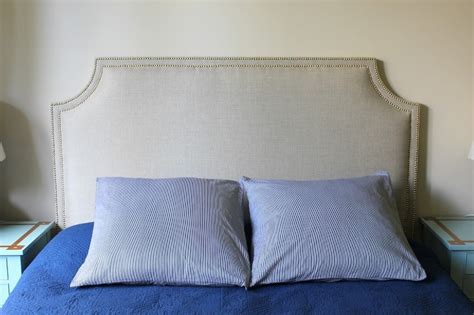 linen headboard with nailhead trim upholstered headboard
