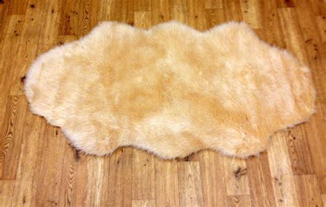 Faux Skin Rugs by New Soft Fluffy Plain Washable Beige Colour Faux Fur