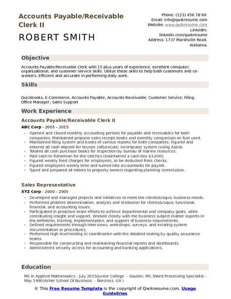 Accounts Payable Resume Pdf by Accounts Payable Receivable Clerk Resume Sles Qwikresume
