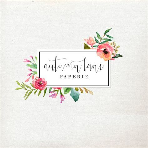 design logo flower premade logo design flower frame logo watercolor