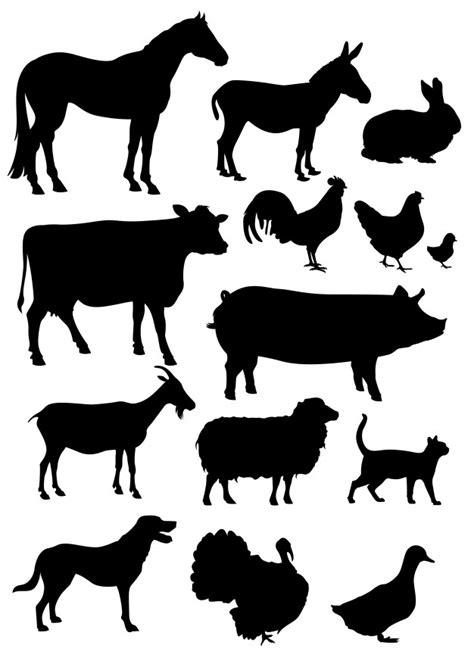 Definir coleção de silhuetas de animais de fazenda isolada