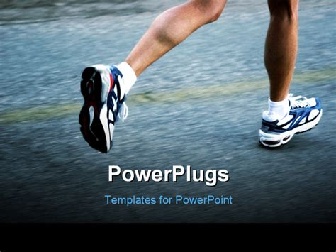 feet of a running woman powerpoint template background of