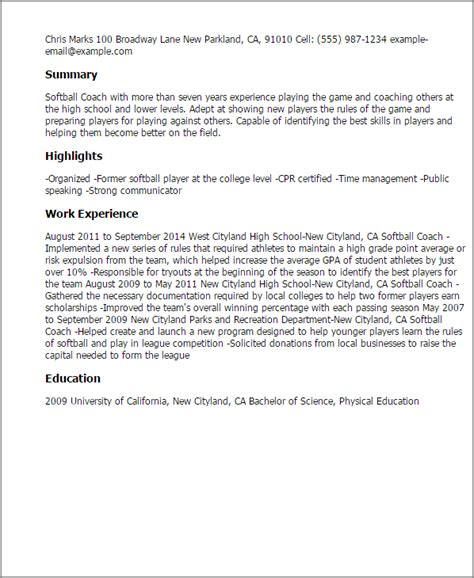 1 softball coach resume templates try them now