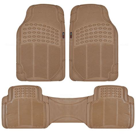 premium ridged rubber floor mats cargo trunk liner beige