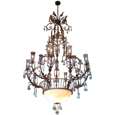 Chandeliers With Shades And Crystals 1970s Wrought Iron And Cage Chandelier With Hurricane Shades For Sale At 1stdibs