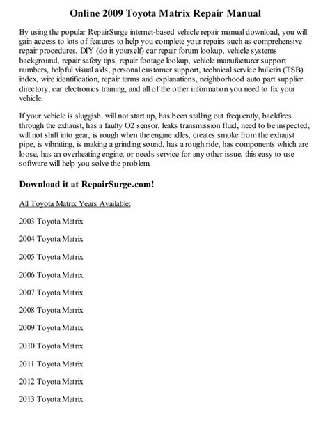how to download repair manuals 2012 toyota matrix head up display bandsfile blog
