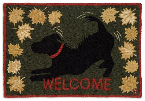 black lab rug chandler 4corners autumn festive leaves black labrador rug hooked in new zealand wool