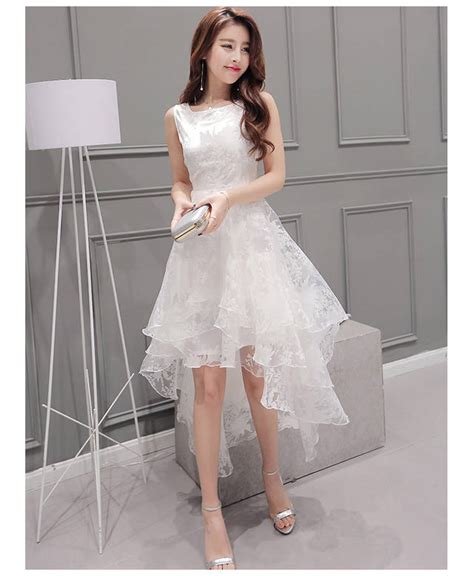 Womens Sweet White O Neck Gown Dress summer maxi dress 2017 o neck sleeveless sweet gown white organza high low evening