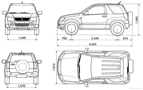 Dimensions Of Suzuki Grand Vitara The Blueprints Blueprints Gt Cars Gt Suzuki Gt Suzuki