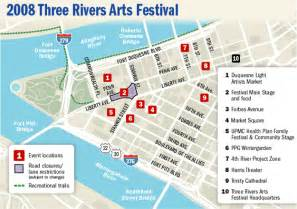 map of three rivers pittsburgh post gazette three rivers arts festival 2008 map