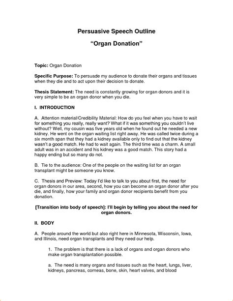 persuasive speech outline template a persuasive speech outline