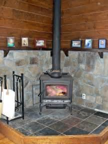 Wood Stove Stone Surrounding And Mantle Farmhouse
