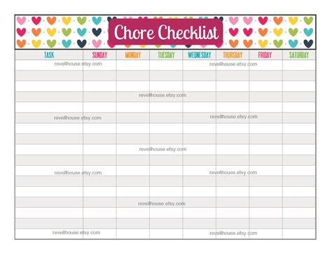 chore checklist rainbow heart to do list task list by