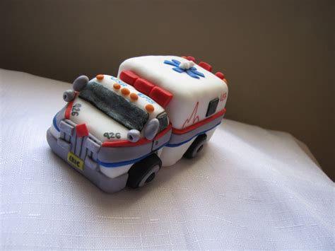 Handmade Edible Cake Toppers - ambulance cake topper fondant handmade edible ambulance