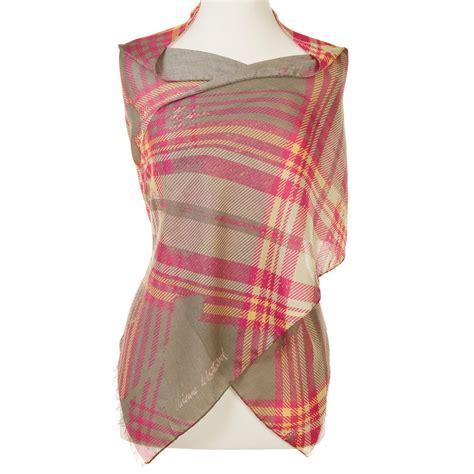 vivienne westwood tartan check scarf pink yellow