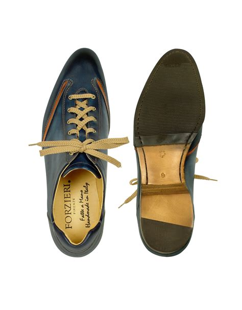 Handmade Italian Shoes - forzieri s blue handmade italian leather lace up shoes