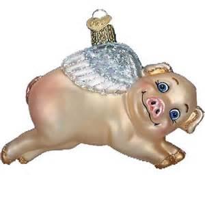 flying pig christmas ornament old world christmas