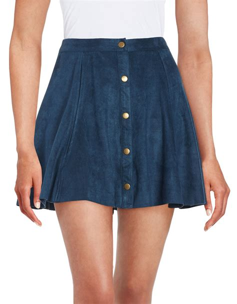 lord snap button faux suede skirt in blue navy