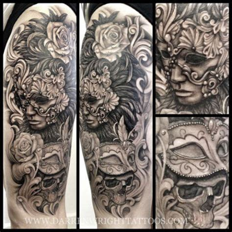 masquerade mask tattoo masquerade mask skull darren wright uk