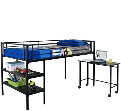 metal loft bed with desk and shelving loft bed with desk and shelves in bunk beds