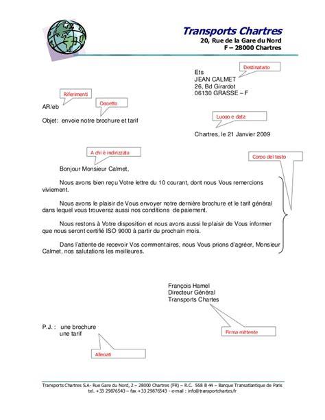 lettere commerciali italiano esempi struttura di una lettera commerciale in francese esempio