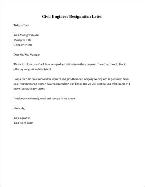 resignation letter format for civil engineer resignation letter format for civil engineer