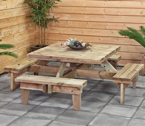 square picnic table with 4 square picnic table