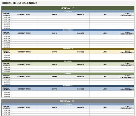 social media calendar template free 18 social media marketing plan template that will make