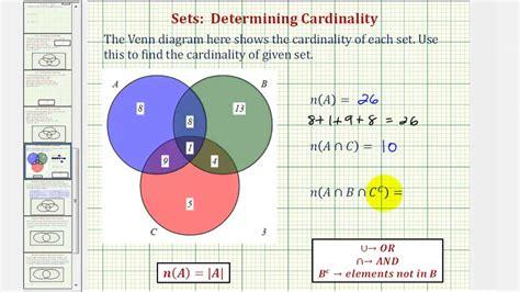 venn diagram calculator 3 sets ex determine cardinality of various sets given a venn