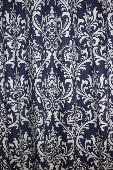 navy blue damask curtains navy blue damask custom curtains a pair of custom