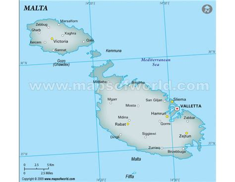 printable road map of malta buy printed malta map with cities