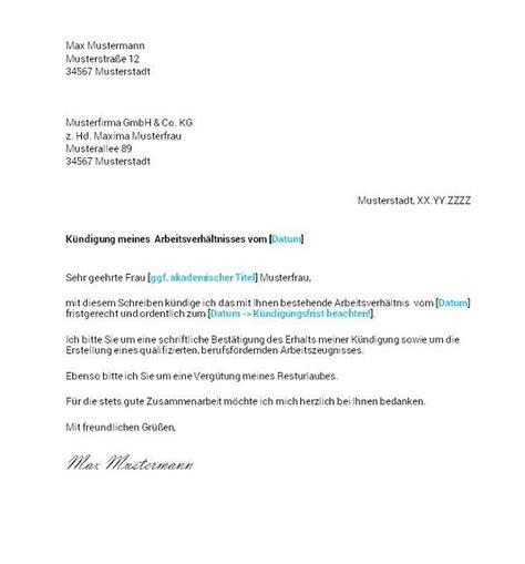 Vorlage Kündigung Arbeitsvertrag Mit Resturlaub Arbeitnehmer K 252 Ndigung Vorlage K 252 Ndigung Vorlage Fwptc
