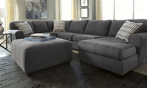 plush sectionals modern plush 3pc sectional ottoman in grey sam levitz