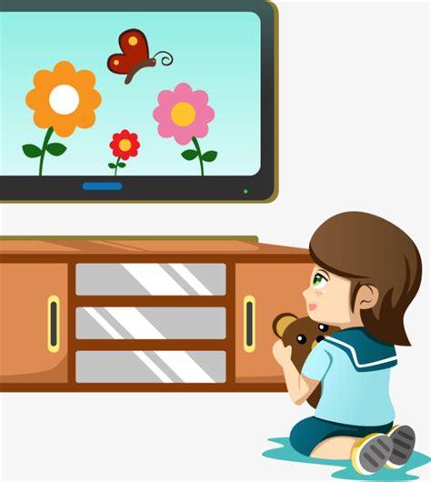 imagenes animadas viendo tv vector pintada ni 241 a viendo tv vector pintado a mano