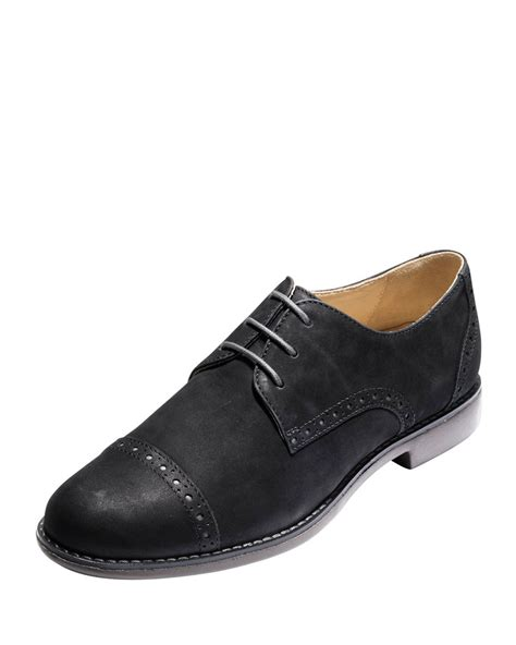 cole haan gramercy nubuck oxford shoes in black lyst