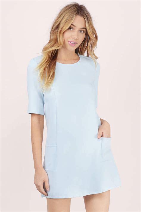 light blue shift dress blue shift dress dress with pockets blue sleeved dress