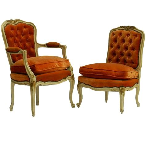 button back armchairs two french chairs armchair and boudoir louis xv revival tufted button back for sale at 1stdibs