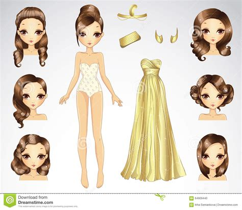 Hairstyle Photos Only Printer by Brown Hair Set For Gold Paper Doll Stock Photo Image