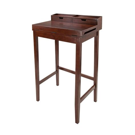 standing desk plans lowes shop winsome wood brighton antique walnut standing desk at