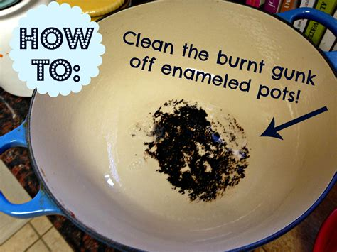 How To : Clean the burnt gunk off enameled pots!   Mommy