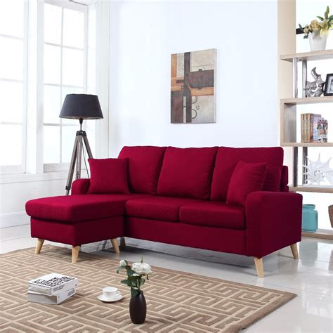 couch space modern fabric small space sectional sofa w reversible