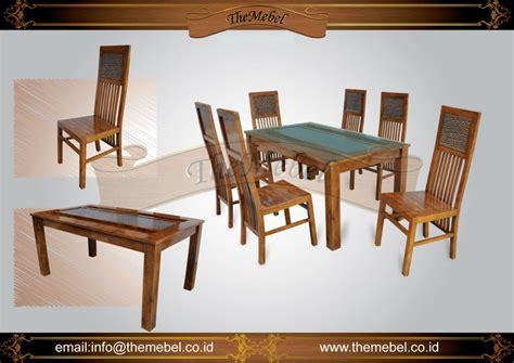 1 Set Meja Kursi Multifungsi Untuk Anak jual set meja makan 6 kursi 014 jati harga murah furniture minimalis mebel ukir jepara