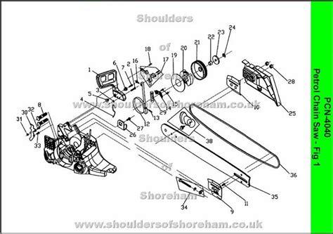 chainsaw diagram ryobi pcn 4040 petrol chain saw spares diagrams ryobi