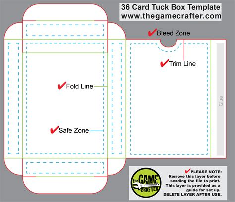 card deck box template tuck box 36 cards