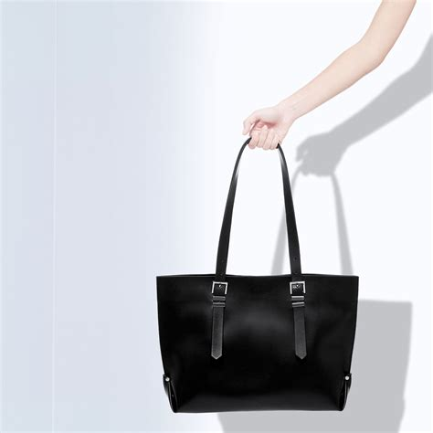 Zara Bag With Buckles zara shopper bag with buckles in black lyst