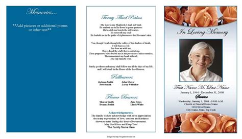 funeral program templates trifold memorial roses